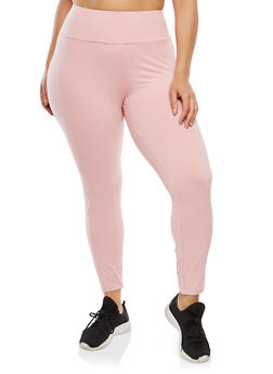 Plus Size Soft Knit Solid Leggings - 1965061632799