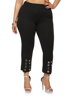 Plus Size Grommet Detail Crepe Knit Pants - 1965062700003