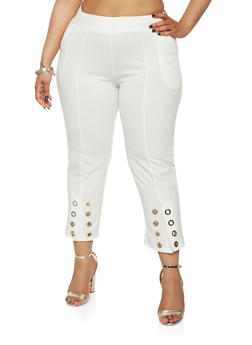 Plus Size Grommet Detail Crepe Knit Pants - 1965062700003