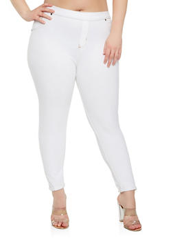 Plus Size Denim Knit Leggings - 1965062700009