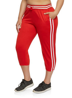 Plus Size Varsity Stripe Capri Sweatpants - 1965062700969