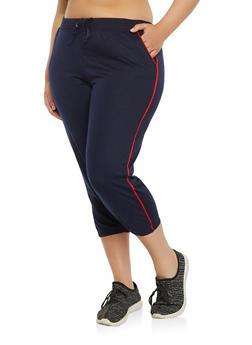 Plus Size Contrast Trim Capri Sweatpants - 1965062700971