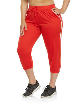 Plus Size Contrast Trim Capri Sweatpants - 1965062700971