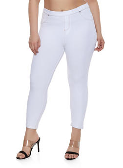 Plus Size Denim Knit Jeggings - 1965062703235