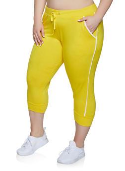 Plus Size Contrast Trim Capiri Sweatpants - 1965062703256