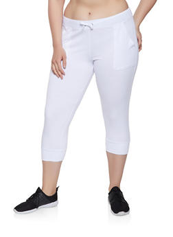 Plus Size White Drawstring Capri