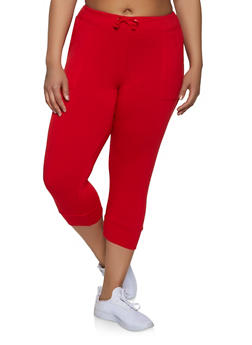 b10a0aa1809 Plus Size French Terry Lined Capri Joggers - 1965062703257