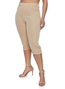 Khaki Capris for Plus Size Women