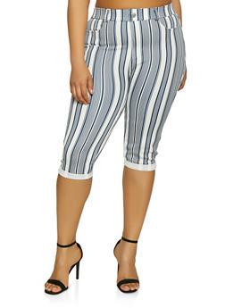 Plus Size Striped Capri Pants - 1965063401945