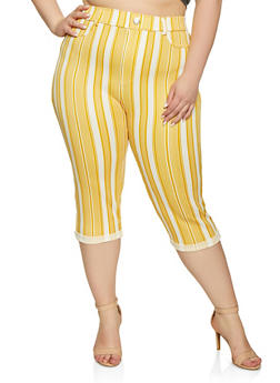 Plus Size Capri Pants with Stripes