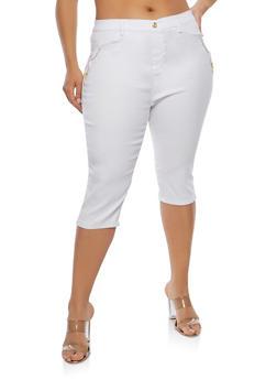 Plus Size Zipper Accent Capri Pants - 1965063405513