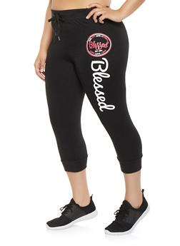 Plus Size Blessed Graphic Capri Sweatpants - 1965063405585