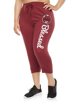 Plus Size Blessed Graphic Capri Sweatpants - 1965063405585