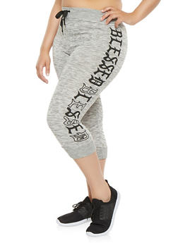Plus Size Blessed Graphic Capri Sweatpants - 1965063406538
