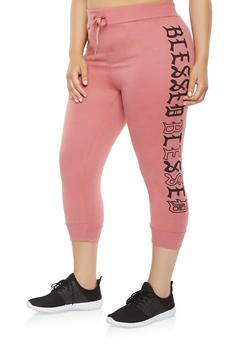 Plus Size Blessed Graphic Capri Sweatpants - 1965063406538