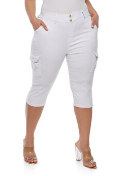Plus Size Cargo Capri Pants - 1965063407265