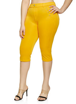 Plus Size Push Up Scuba Capris - 1965063407286