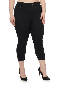 Plus Size 5 Pocket Cropped Jeggings - 1965072716125