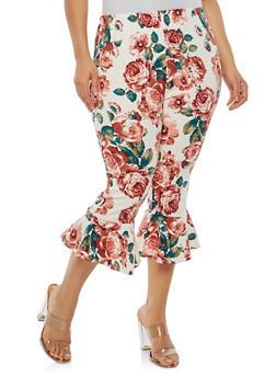 Plus Size Flared Hem Capri Pants - 1965074010812