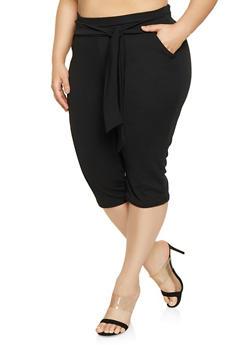 Plus Size Tie Waist Capri Pants - 1965074015978