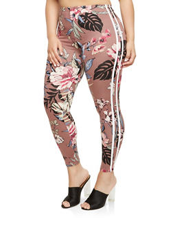 Plus Size Floral Varsity Stripe Leggings - 1969001440016