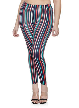 Plus Size Striped Soft Knit Leggings | 1969001440034 - 1969001440034
