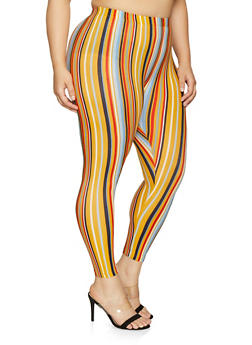 Plus Size Striped Soft Knit Leggings - 1969001440034