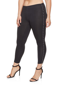 Plus Size Studded Tape Trim Leggings - 1969001440138