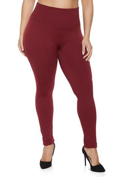 Plus Size Textured Knit Leggings - 1969001440162