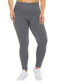 Plus Size Chevron Textured Knit Leggings - 1969001440163