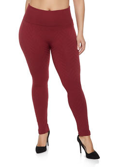 Plus Size Chevron Textured Knit Leggings - 1969001440163
