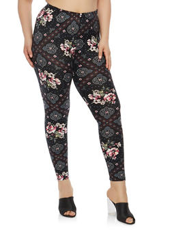 Plus Size Soft Knit Printed Leggings - 1969001440314