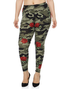 Plus Size Camo Rose Print Leggings - 1969001440316