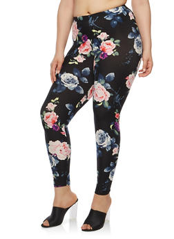 Plus Size Black Floral Leggings - 1969001440320