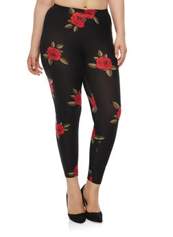 Plus Size Rose Print Leggings - 1969001440324