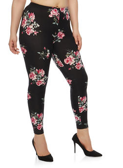 Plus Size Black Printed Floral Leggings - 1969001440327