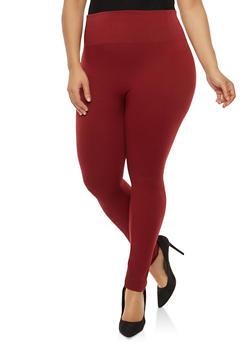 Plus Size High Waisted Fleece Lined Leggings - 1969001441052