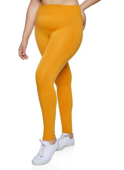 Plus Size Wide Waffle Knit Waist Leggings - 1969001441061