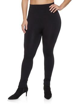 Plus Size Fleece Lined Solid Leggings - 1969001441062