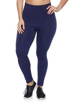 Plus Size Fleece Lined Solid Leggings - 1969001441062
