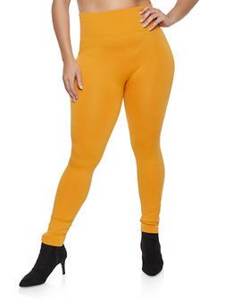 Plus Size Solid Leggings - 1969001441062