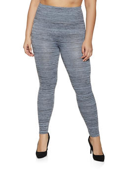 Plus Size Waffle Knit Band Leggings - 1969001441126