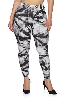 Plus Size Soft Knit Tie Dye Leggings - 1969001441133