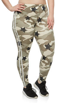 Plus Size Camo Star Print Leggings - 1969001441613