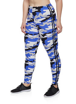 Plus Size Camo Varsity Stripe Leggings - 1969001441626