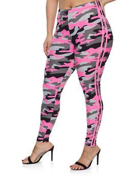 Plus Size Camo Varsity Stripe Leggings - 1969001441626