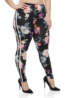 Plus Size Floral Side Striped Leggings - 1969001443116