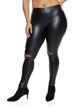 Plus Size Faux Leather Ripped Knee Leggings - 1969001443311