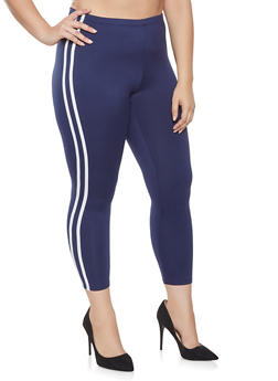 Plus Size Varsity Stripe Fleece Leggings - 1969001443836