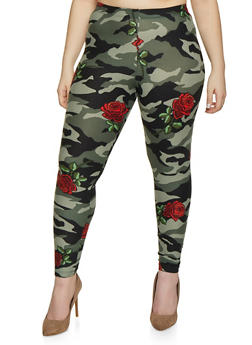 Plus Size Camouflage Floral Leggings - 1969001444916